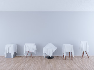 wooden floor and light background, art concept for an exhibition opening day or a presentation ceremony. 3d illustration