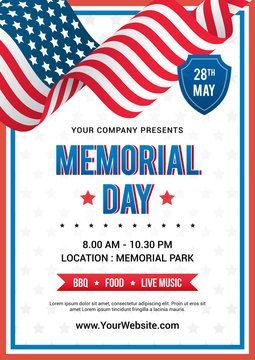 Memorial Day poster templates Vector illustration, USA flag waving with text on white star pattern background. Flyer design