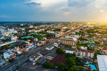 Aerial view of Nakhon Ratchasima city or Korat at sunset, Thailand