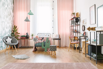 Pink girl room interior