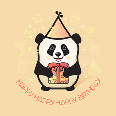 Cute bear panda holds a gift. Happy Birthday card.