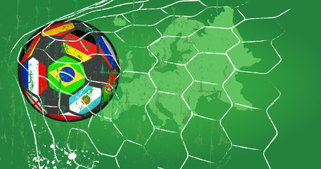 Soccer ball w. flags of top national teams in goal net , grungy style vector.