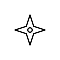 Four-pointed star icon. Element of navigation for mobile concept and web apps. Thin line Four-pointed star icon can be used for web and mobile