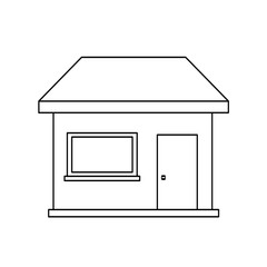 House outline isolated. Coloring book. Vector stock.