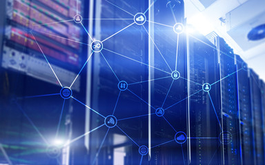 Telecommunication concept with abstract network structure and server room background.?