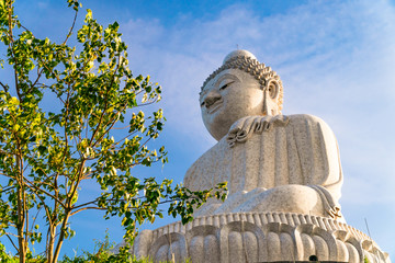 Low angle view of white marble big Buddha statue on top of the hill in evening with blue sky background and Bodhi Tree in the foreground at Phuket, Thailand.