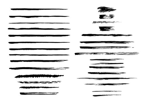 Vector collection of semi-dry brush strokes.
