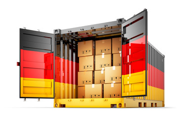Freight transportation from Germany, shipment and shipping concept, open cargo container with German flag full of cardboard boxes isolated on white background