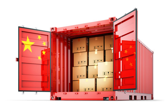Freight transportation from China, shipment and shipping concept, open cargo container with Chinese flag full of cardboard boxes isolated on white background
