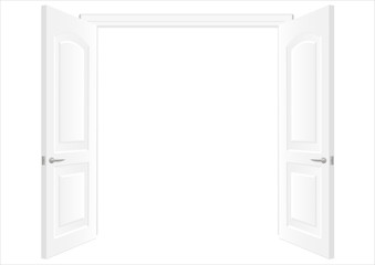 Open white double doors. Background in vector graphic. White wall