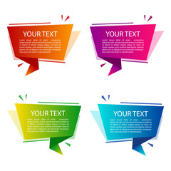 Set of colorful origami banners for your text. Text boxes for presentation or promotion. Vector illustration