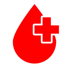 World Blood Donor Day, June 14. Red Blood drop with white cross sign.
