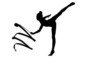 girl gymnast black silhouette exercise ribbon in rhythmic gymnastics