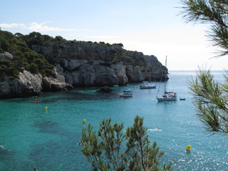Minorca, view of Cala Macarella bay