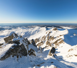 View from the top of Puy de Sancy during winter. Location : Auvergne, France