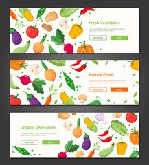 Natural food - set of modern colorful vector posters