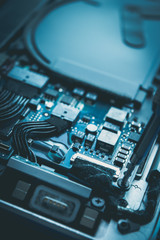 computer repair and maintenance hard disk drive blue design
