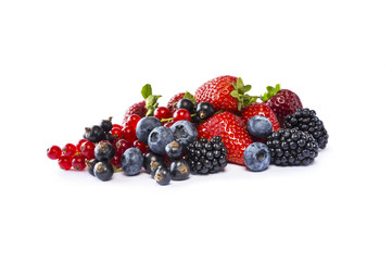 Fruits and berries isolated on white background. Ripe currants, blackberries, blueberries and strawberries. Sweet and juicy fruits with copy space for text. Various fresh summer.  Fototapete