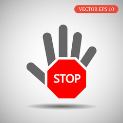 Hand-stop icon. Vector illustration eps 10