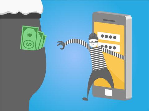 Hacker stealing money from smart phone for phishing and internet viruses. hacking internet social network