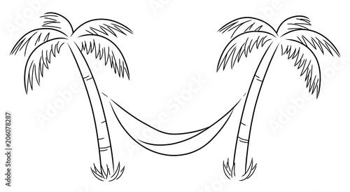 """""""zwei schwarzweiße palmen mit hängematte  vektor"""