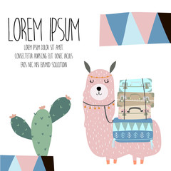 cute pastel greeting card with llama and cactus in scandinavian style