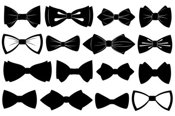 Set of different bow ties isolated on white