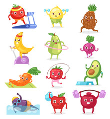 Fruits sportsman vector fruity expression of sporting cartoon character workout doing fitness exercises illustration set of vegetables with funny apple banana in sport isolated on white background