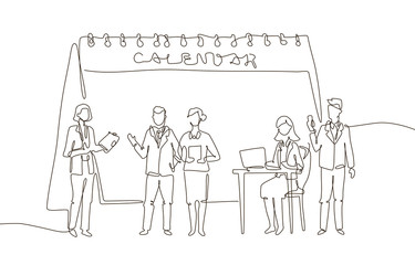 Business meeting - one line design style illustration