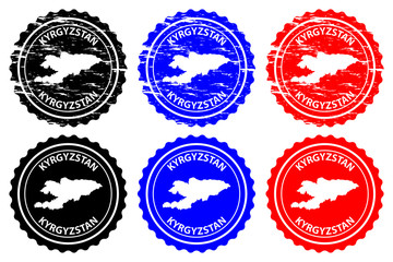 Kyrgyzstan - rubber stamp - vector, Kyrgyz Republic (Kirghizia) map pattern - sticker - black, blue and red