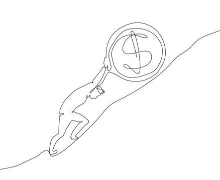 Money making - one line design style illustration