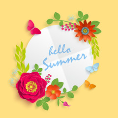 Hello summer banner template for advertising, invitation or poster sale with paper art flowers background. Vector stock illustration