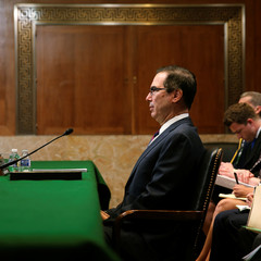 Mnuchin testifies at a Senate Appropriations subcommittee hearing on Capitol Hill in Washington