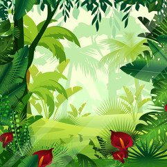 Vector illustration of background jungle lawn in morning time. Bright colorful jungle with ferns, trees, bushes, vines and flowers in cartoon style.