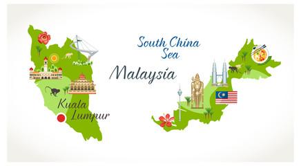 Malaysian map with sights landmark located on it buildings flora symbols buddha statue