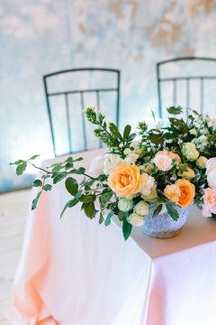 flower arrangement, romance, environment concept. still life in form of dizzying bouquet of the most elegant flowers in the world, roses, symbolised steadfast love