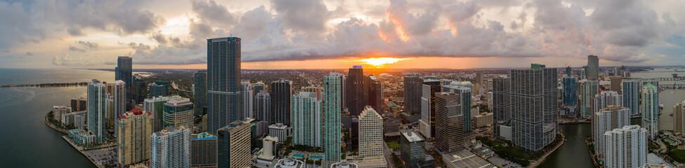 Aerial panorama Miami Brickell cityscape Sunset