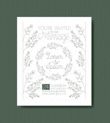 wedding and married invitation card with circular wreath vector illustration
