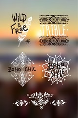 Boho style graphic elements. Beautiful hand drawn illustration