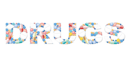 DRUGS written with pills and capsules. Isolated vector illustration on white background.