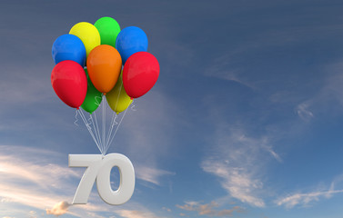 Number 70 party celebration. Number attached to a bunch of balloons. 3D Rendering