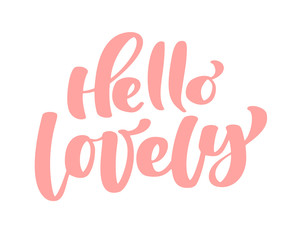 Text hello lovely handwritten calligraphy lettering quote to valentines day design greeting card, poster, banner, printable wall art, t-shirt and other, vector illustration