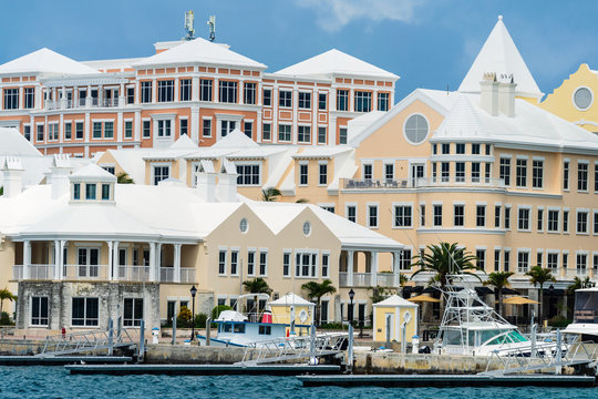 Buildings along the waerfront of Hamilton, Bermuda.