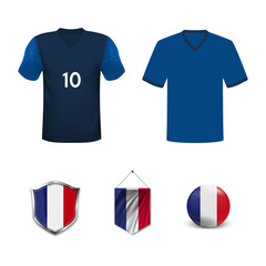 Set of T-shirts and flags of the national team of France. Vector illustration.