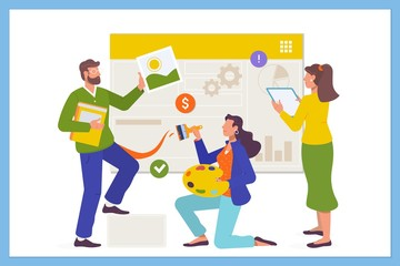 Development team concept for web page. Business team working concept.Flat vector illstration