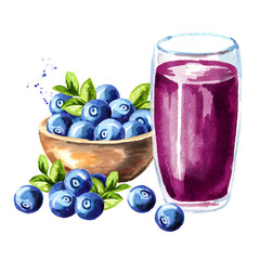Bowl with ripe blueberries and glass of blueberry juice. Watercolor hand drawn illustration, isolated on white background