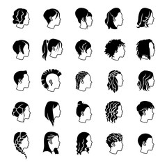 Female hairstyles glyph vector icons