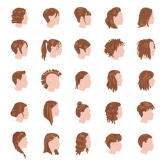 Female hairstyles color vector icons