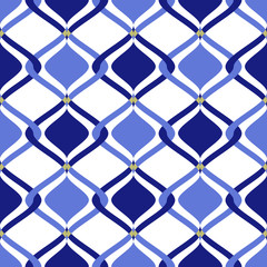 Tiles consisting of blue and dark blue rhombs. Vector seamless pattern illustration.