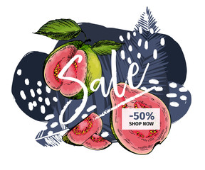 Vector banner for shop web site. Summer sale. Tropical trendy palm leaf ans hand drawn guava. Business promotion, social media marketing, SMM, flyer, online shopping, advertisting coupon, newsletter